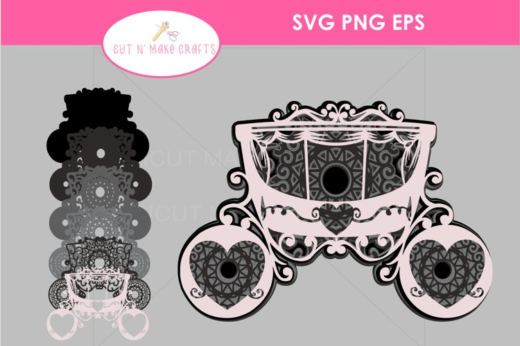 MULTILAYERED CARRIAGE SVG, 3D FAIRYTALE Layered Mandala SVG example image 1