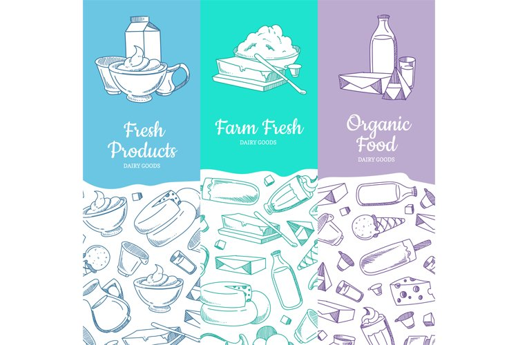 Vector vertical banners with sketched dairy goods example image 1