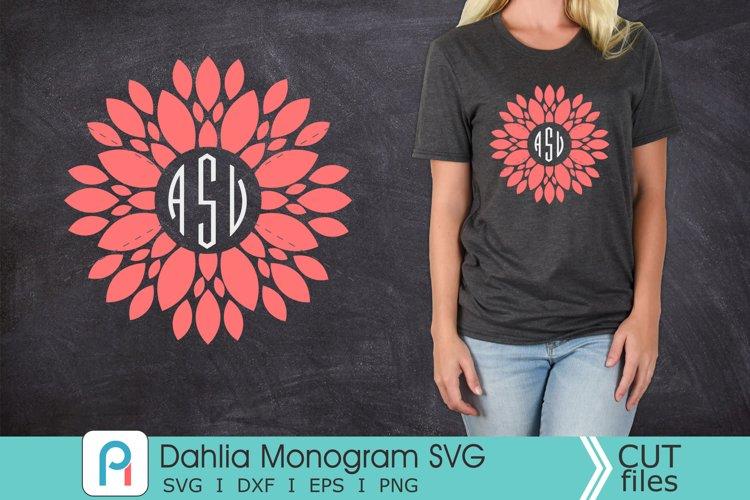 Dahlia Monogram Svg, Dahlia Svg, Dahlia Clip Art, Flower Svg example image 1