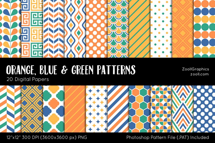 Orange, Blue And Green Digital Papers example image 1