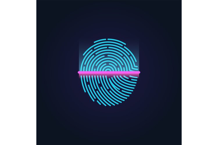 Fingerprint electronic scanning identification system vector example image 1