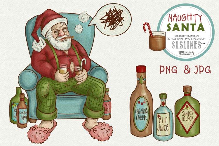Naughty Santa Christmas Illustrations PNG example image 1