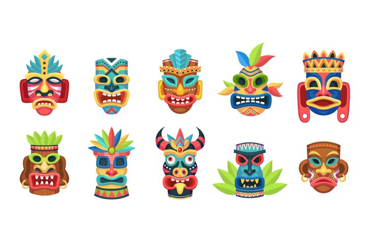 Ethnic masks. Ritual, ceremonial tribal mexican indian or af example image 1