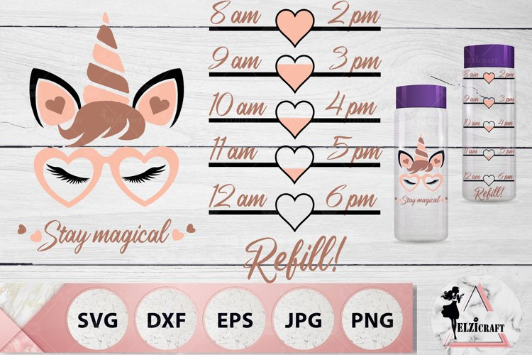 Water Bottle Tracker, Stay Magical, Unicorn Face SVG
