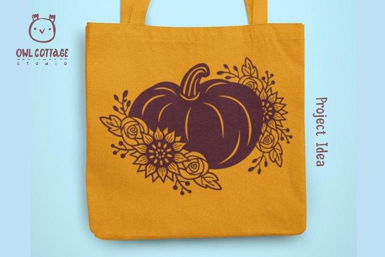Floral Pumpkin svg, Halloween Floral Decor, Fall svg example 3