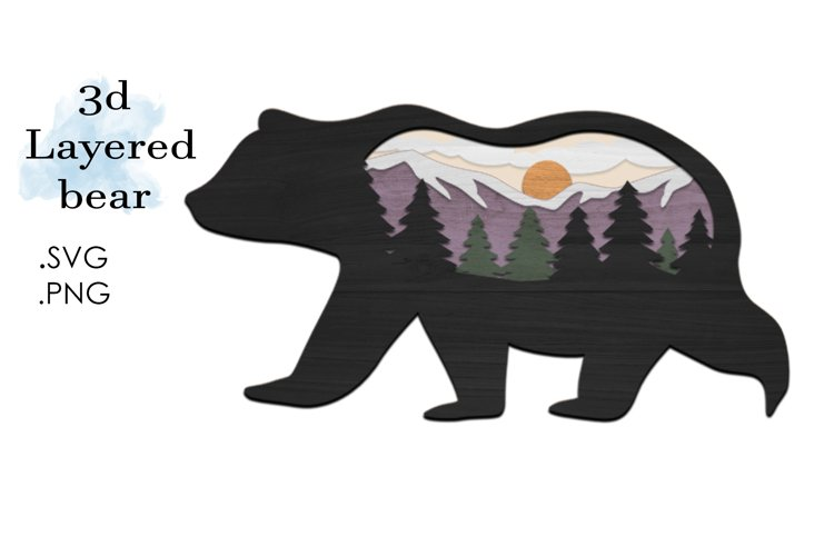 3D Layered SVG -Multilayered SVG Bear- Layered SVG Animal example image 1
