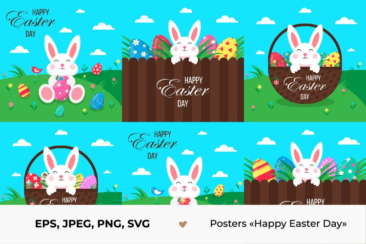 Easter poster with eggs, rabbit, wicker basket.