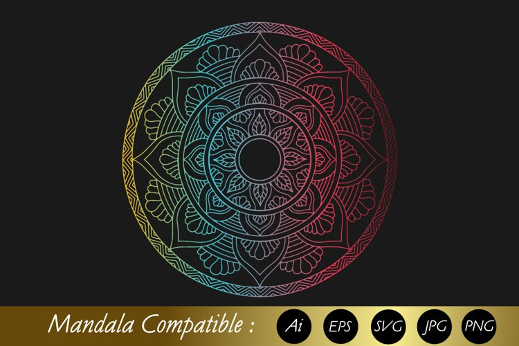 Mandala Colorful Flower Sublimation Design SVG PNG JPG EPS