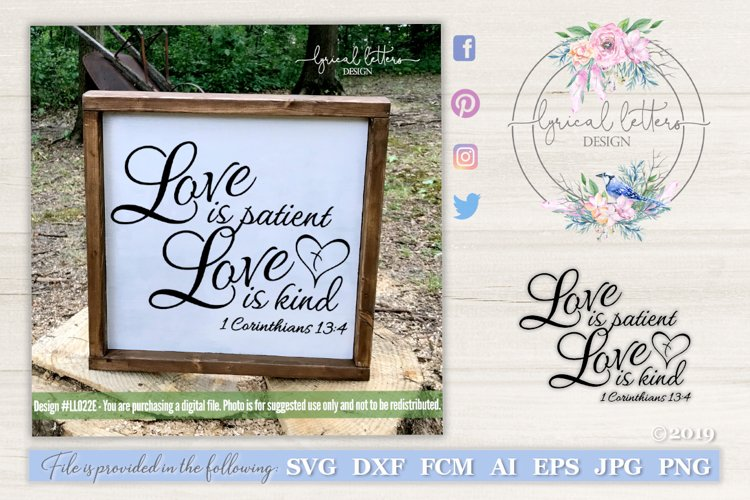 Love Is Patient Love is Kind 1 Corinthians 13 SVG DXF LL022E example image 1