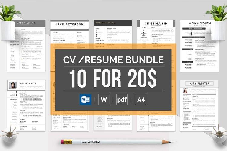 Best Selling Bundle 10 CV & Resume Templates example image 1