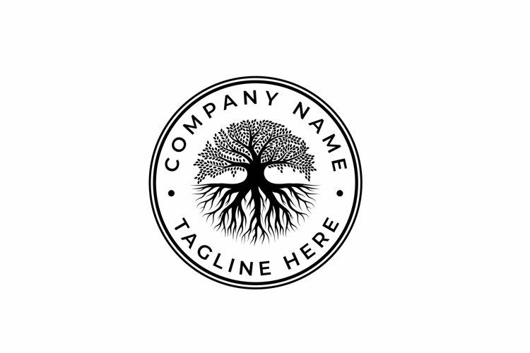 Tree of Life Stamp Seal Emblem Oak Banyan Tree Logo Design example image 1