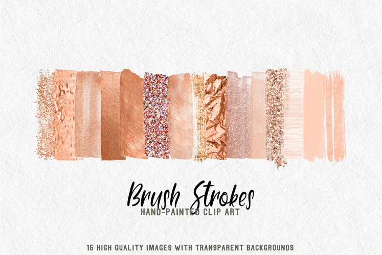 15 brush strokes clipart rose gold