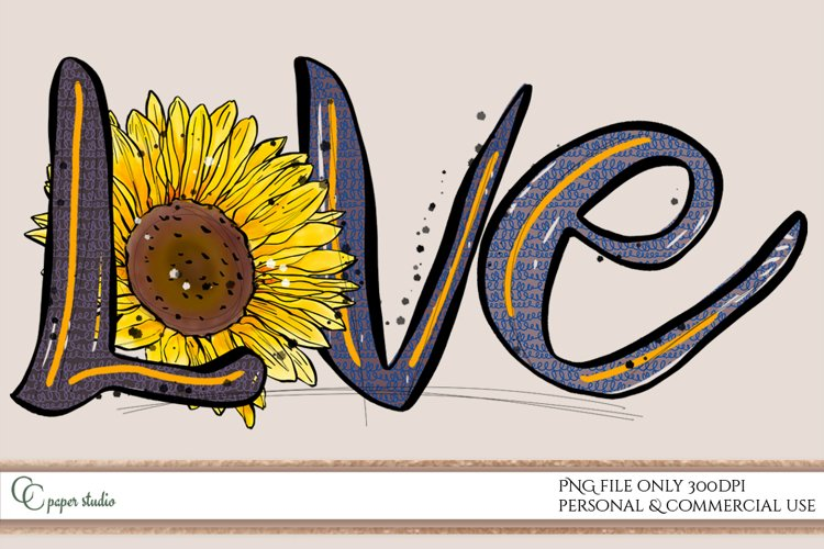 Sublimation love design with spring sunflower - blue