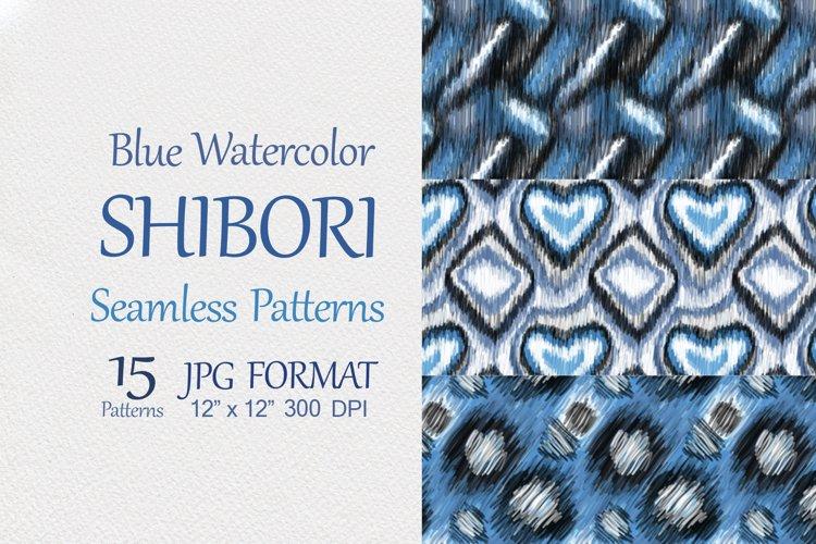 Blue Watercolor Shibori Seamless Patterns, jpg digital paper