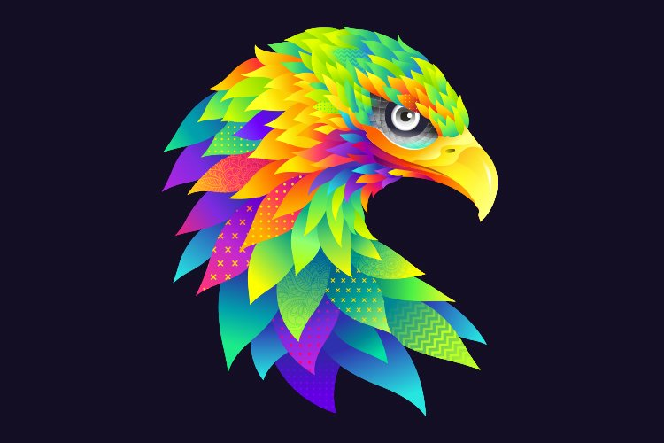 Modern graphic colorful eagle illustration example image 1