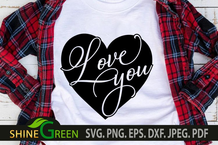Valentines Day SVG - Love You Heart, Couple Gift Idea example image 1
