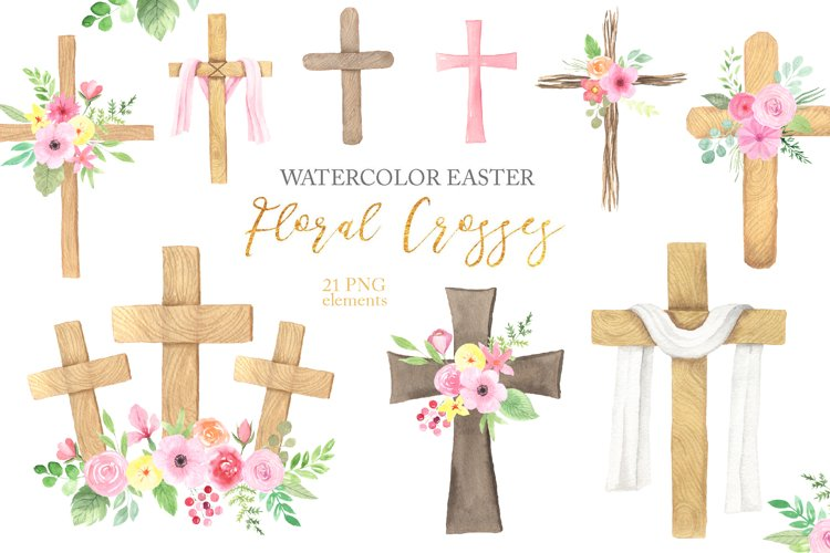Watercolor Easter Floral Crosses example image 1