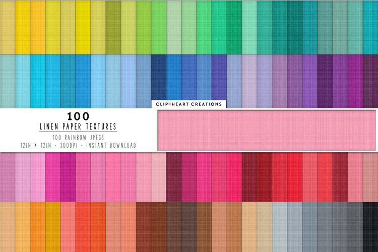 100 Linen Textures Digital Papers in Rainbow Colors example image 1