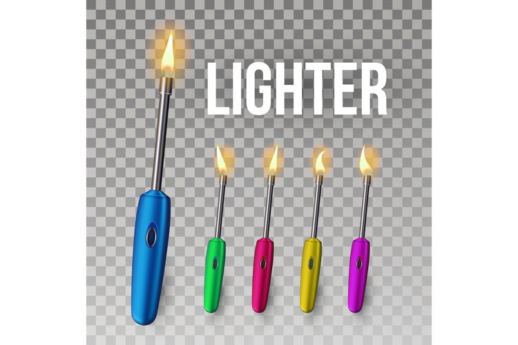 Lighter Vector. Corporate Light Accessory. 3D Realistic example image 1