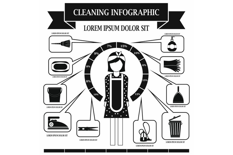 Cleaning infographic, simple style example image 1