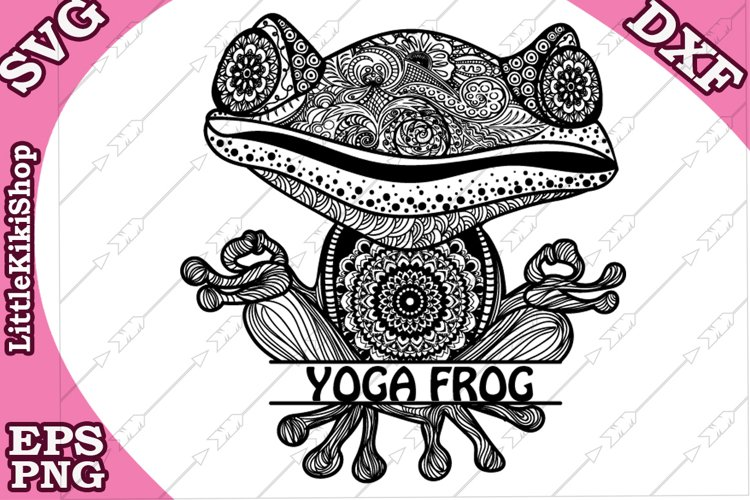 Yoga Frog Monogram Svg,Mandala Frog Svg,Yoga Svg,Funny Frog example image 1