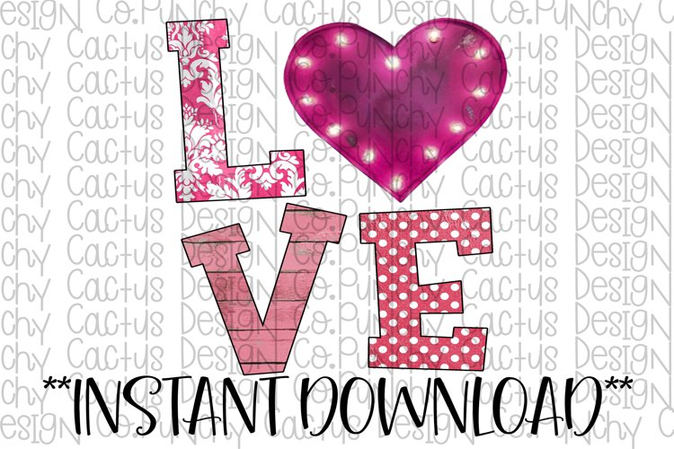 Pink Love Sublimation Download, Valentines Day