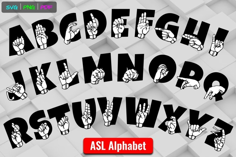 ASL ABCs On Text American Sign Language SVG Cut Files