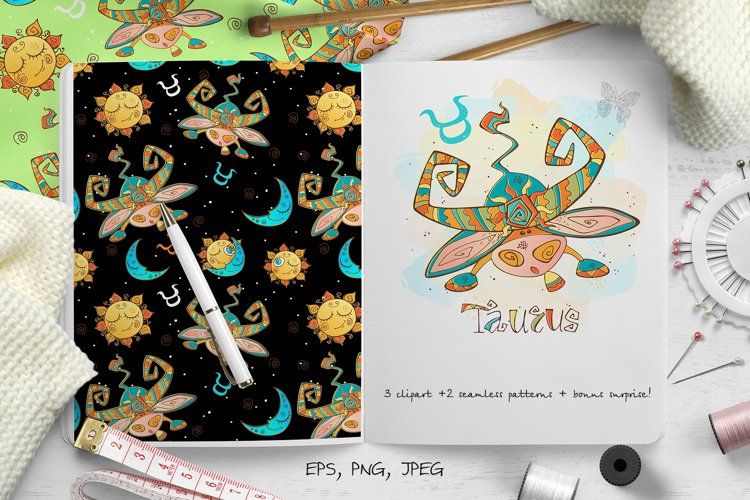 Taurus zodiac sign. For children.   example image 1