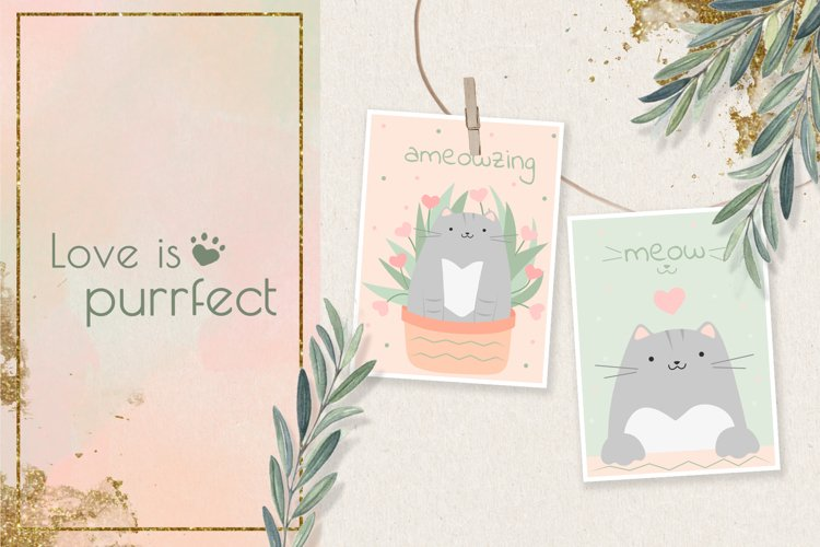 Cards with cute cats & cliparts
