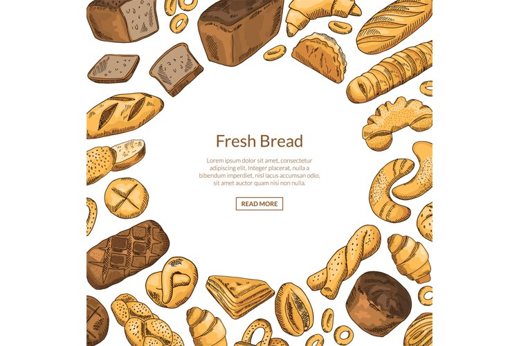 Vector hand drawn colored bakery elements illustration with example image 1