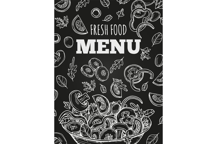 Chalkboard fresh food menu vector template cover example image 1
