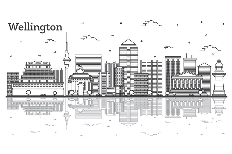 Outline Wellington New Zealand City Skyline with Modern example image 1