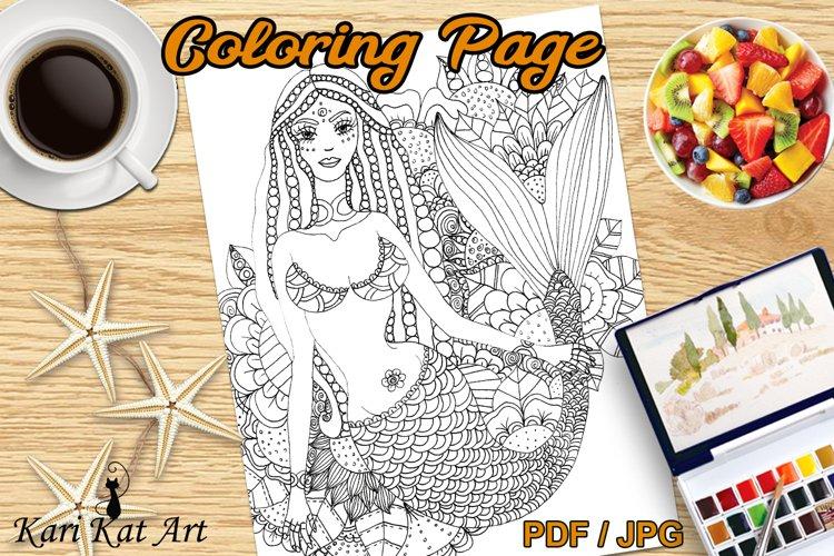 Mermaid Floral, printable coloring page, digital stamp, draw example image 1