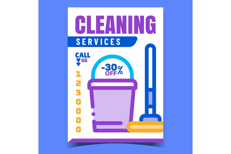 Cleaning Service Creative Advertise Banner Vector example image 1