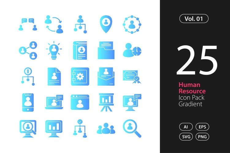 Human Resource Icon Gradient SVG, EPS, PNG