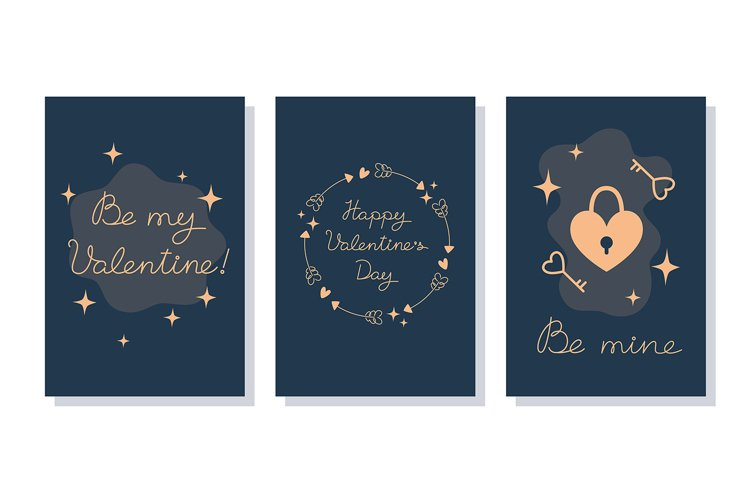 Set of Minimalistic Valentines Day Cards
