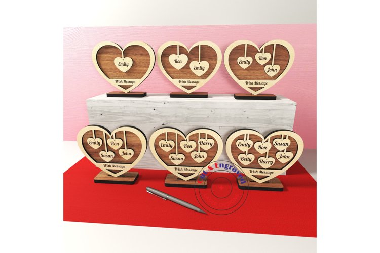 Family sign hearts on the stand 6 styles. Glowforge ready.