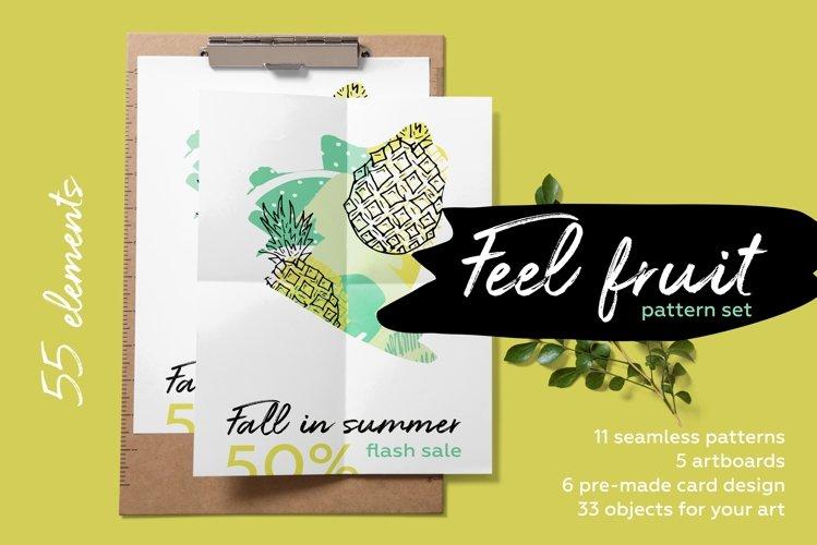 Feel fruit - feel good Fresh hand drawn summer pattern set. example image 1