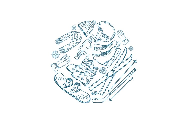 Vector hand drawn winter sports equipment circle concept example image 1