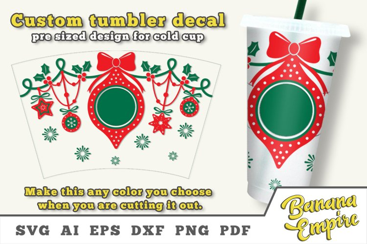 Christmas Balls cold cup decal, Christmas svg example image 1