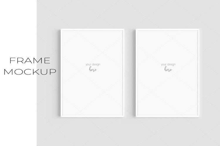 A4 White Frame Mockup Set of 2/JPG PNG PSD Smart Object/M131 example image 1