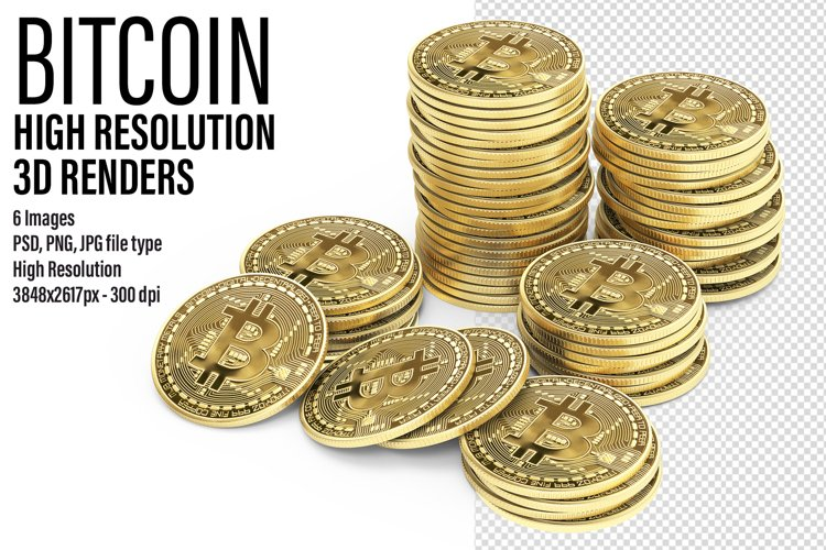 Bitcoin High Resolution 3D renders example image 1