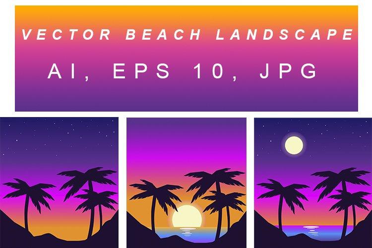 Vector beach landscape in retro wave style