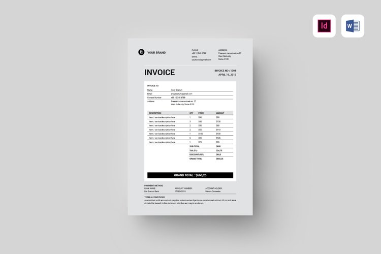 Invoice | MS Word & Indesign