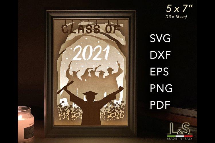 3D Layered Graduation Shadow Box svg, Light Box Template example image 1