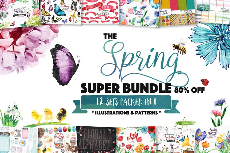 Spring Sublimation Bundle of Illustrations & Patterns - Subl