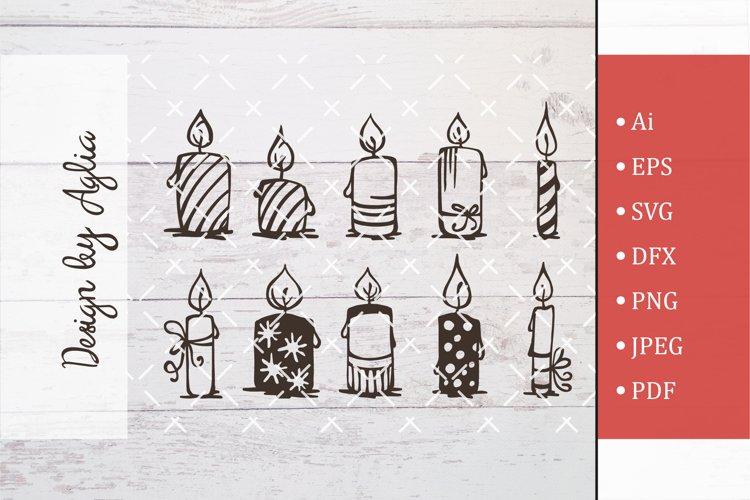 SVG set of candles, Cut file, Line art illustration