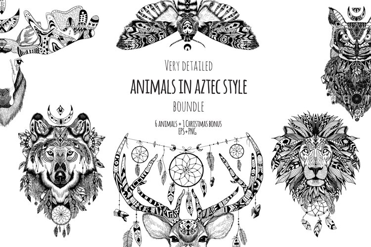Textured animals in aztec style example image 1