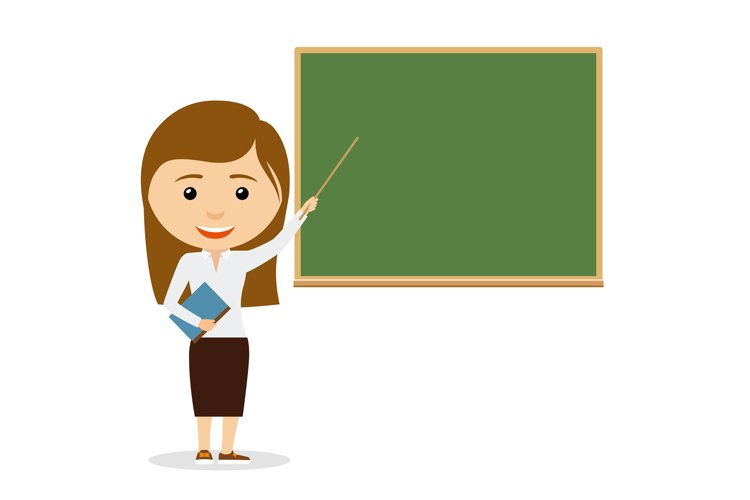 Female teacher on lesson at the chalkboard example image 1