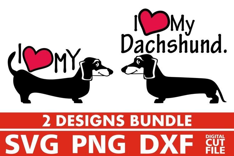 2x Love Dachshund Bundle svg, Dog Breed svg, Dog On Board example image 1